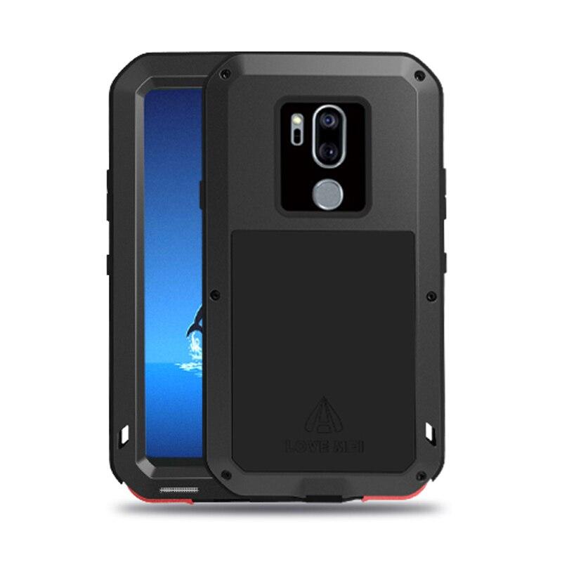 Étui pour LG G7 ThinQ + Gorilla en aluminium de luxe en métal protecteur en verre couvercle en Silicone complet de protection du corps pour LG G7 étui ThinQ