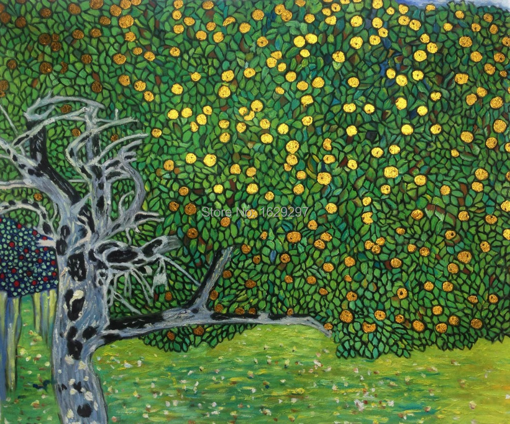 Klimt Fiori Us 85 8 22 Off Modern Art Golden Apple Tree Gustav Klimt Oil Painting Reproduction Landscapes High Quality Hand Painted Wall Decor In Painting