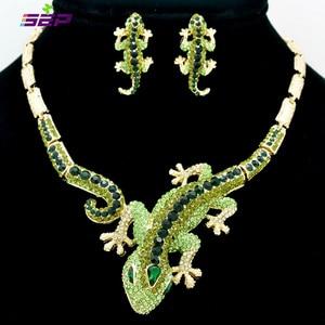 Image 1 - Fashion  Animal Gecko Lizard Necklace Earring Sets with Rhinestone Crystal Women Jewelry Set FA3274