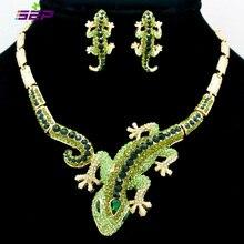 אופנה בעלי החיים Gecko לטאה שרשרת עגיל סטים עם ריינסטון קריסטל נשים תכשיטי סט FA3274