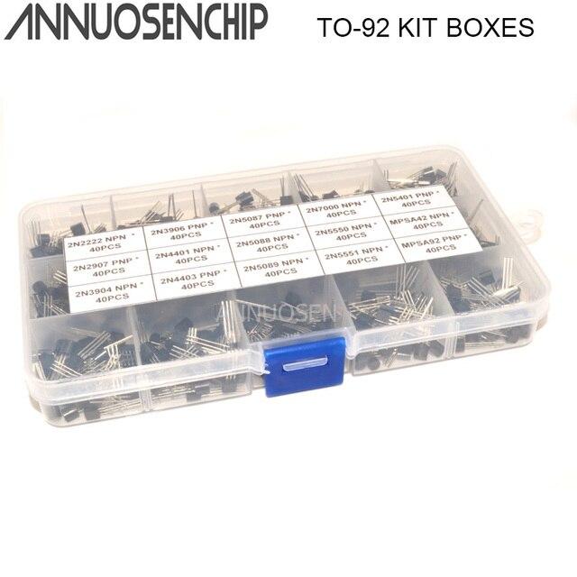 15 값 x40 600pcs TO 92 트랜지스터 구색 키트 2N2222 2N3904 2N3906 2N5088 2N5089 2N7000 MPSA42 MPSA92 등