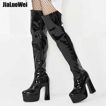 jialuowei Over-the-Knee Boots Womens Square Block Heel Platform Side Zipper Autumn Winter Thigh Boots 15CM High Heels Size 36-46 - DISCOUNT ITEM  39% OFF All Category