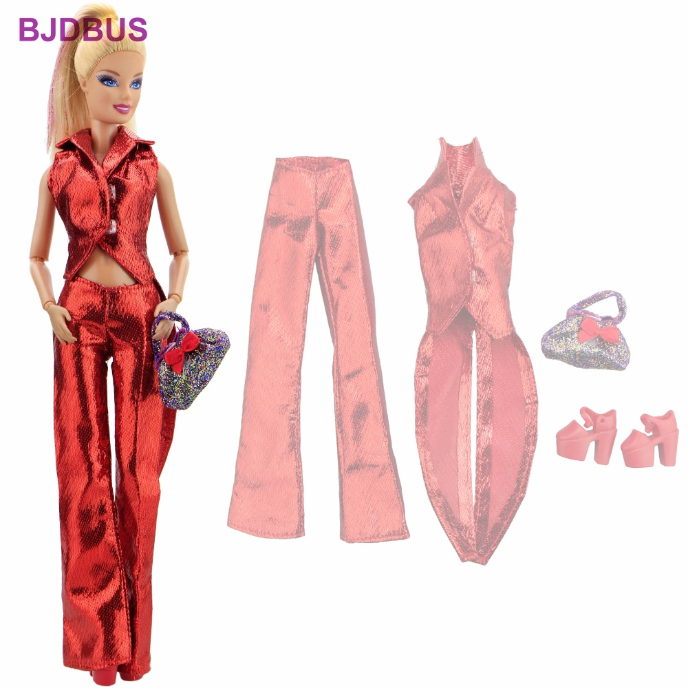 Handmade Special Outfit Red Swallow-tailed Coat Trousers Cute Handbag High Heels Shoes Clothes For Barbie Accessories Toys Gifts 30 new styles festival gifts top trousers lifestyle suit casual clothes trousers for barbie doll 1 6 bbi00636
