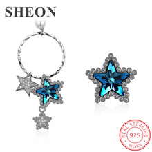 SHEON Asymmetrical Star Earrings Genuine 925 Sterling Silver Cubic Zirconia Stud For Women Jewelry Lover Gift