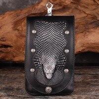 Men Black Handbags Cow Leather Serpentine Snakehead Messenger Shoulder Belt Bag Waist Bags Cigarette Smoke Cell Phone Pocket