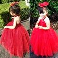 2015 Красный Цвет Девушка Платье дети Театрализованное Невесты Пром Платье Принцессы для девочек Бальное платье Формальные бинты Строки Платье
