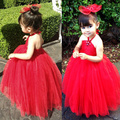 2015 Red Color Girl Dress kids Pageant Bridesmaid Prom Party Princess Dress for girls Ball Gown Formal bandage A-Line Dress