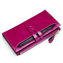 Moda feminina carteiras de couro genuíno do sexo feminino carteiras com telefone bolso senhoras bolsa ferrolho carteira embreagem cartera mujer