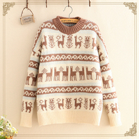 Japanese Women Knitting Sweater Pullover Casual Long Sleeve Print Jacquard Sweater Spring Autumn Female Clothing Sweaters T670