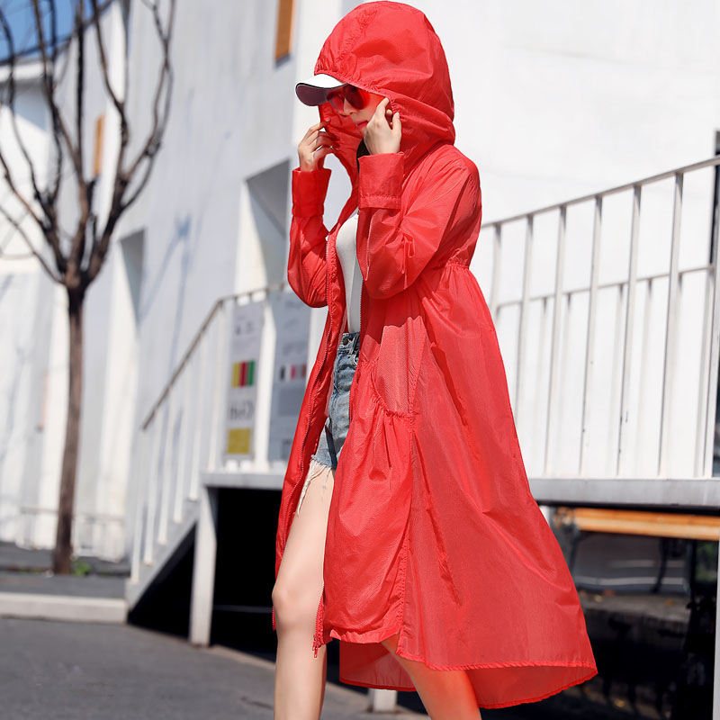 Summer New Long   Trench   Coats Women Fashion Hooded Cardigan Beach   Trench   Coat Abrigo Mujer Loose Thin Windbreaker Outerwear C5207