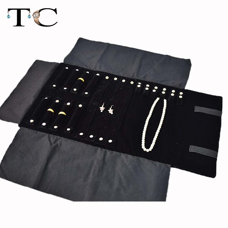 free shipping portable pouches accessories storage jewelry display combo nacklace ring earring bracelet roll