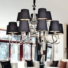 Tela Pantalla de lámpara Moderna lámpara de Araña de Cristal moderna Lámpara De Araña Negro Diámetro 105 cm 10 5 Armas E27 Lustres Araña