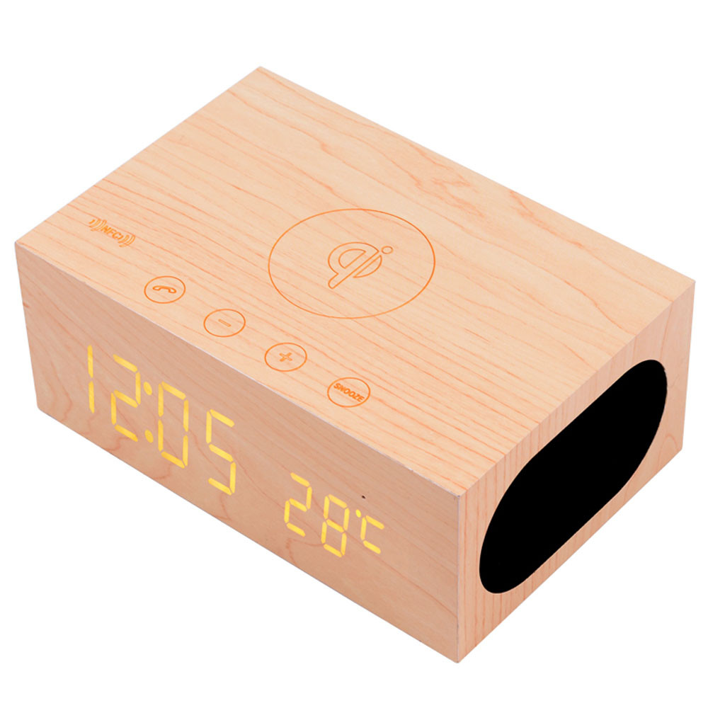 ФОТО New Wood Bluetooth Speaker NFC Stereo LED Snooze Alarm Clock with Wireless Charging Time Temperature Display #ET391
