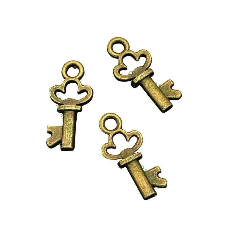 150pcs-Antique Bronze 2 Sided Tiny Key charms 16x8mm(China)