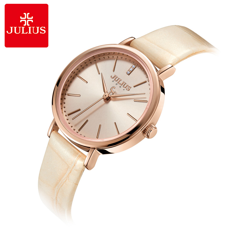 цены Julius Watches Women Casual Leather Strap Wrist Watch Luxury Rose Gold Quartz Ladies Watches Reloj Mujer 2018 Female Clock