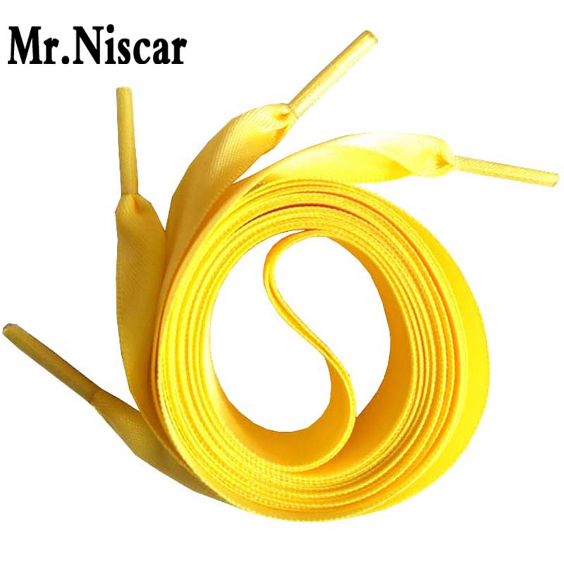 Free Shipping 1 Pair Ribbon Shoelaces Silk Sneakers Women Shoe Lacing Light Laces Colored Decorated Shoe Egg Yellow Shoelaces