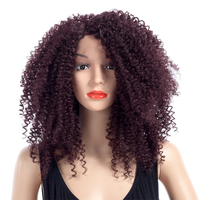 ELEGANT MUSES 18inch Afro Curly Wig High Temperature Fiber Burgundy Synthetic Wigs For Black Women African Hairstyle