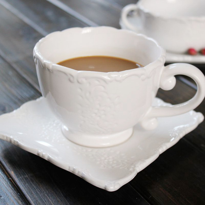 Brand high quality western <font><b>cups</b></font>+saucer <font><b>set</b></font> with double ears handgrip white ceramic afternoon milk tea <font><b>coffe</b></font> <font><b>cups</b></font> tray drinkware image