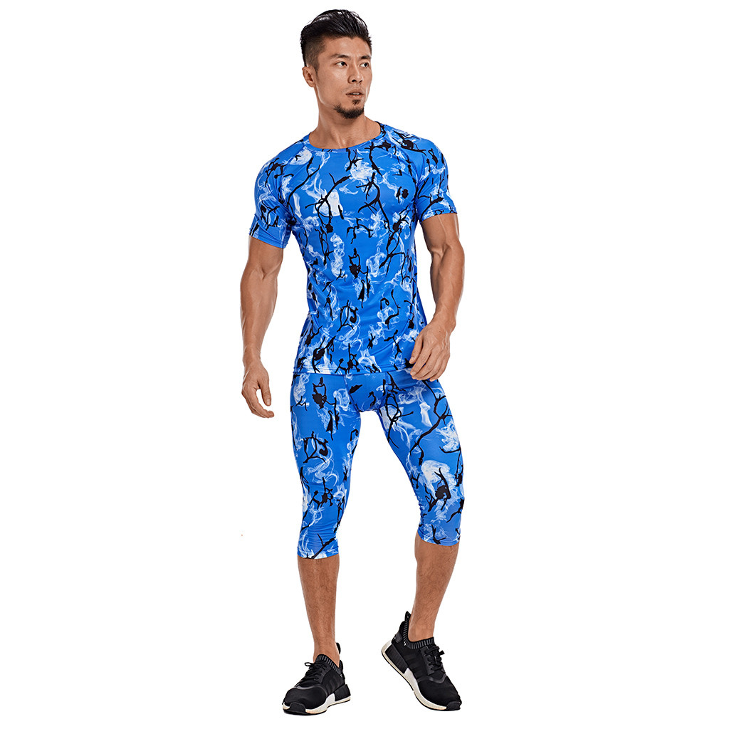 Men's Printed Elastic Fitness Breathable Fast Drying Sports Tight Suit 7.16