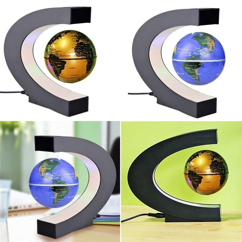 C Shape Black Blue LED World Map Decor Home Electronic Magnetic Levitation Floating Globe Antigravity LED Light Gift Decoration