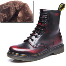 New 2016  Fashion Women Winter Boots Snow Boots Genuine Leather Martin Boots Women Brand Uinsex Motorcycle Ankle Boots