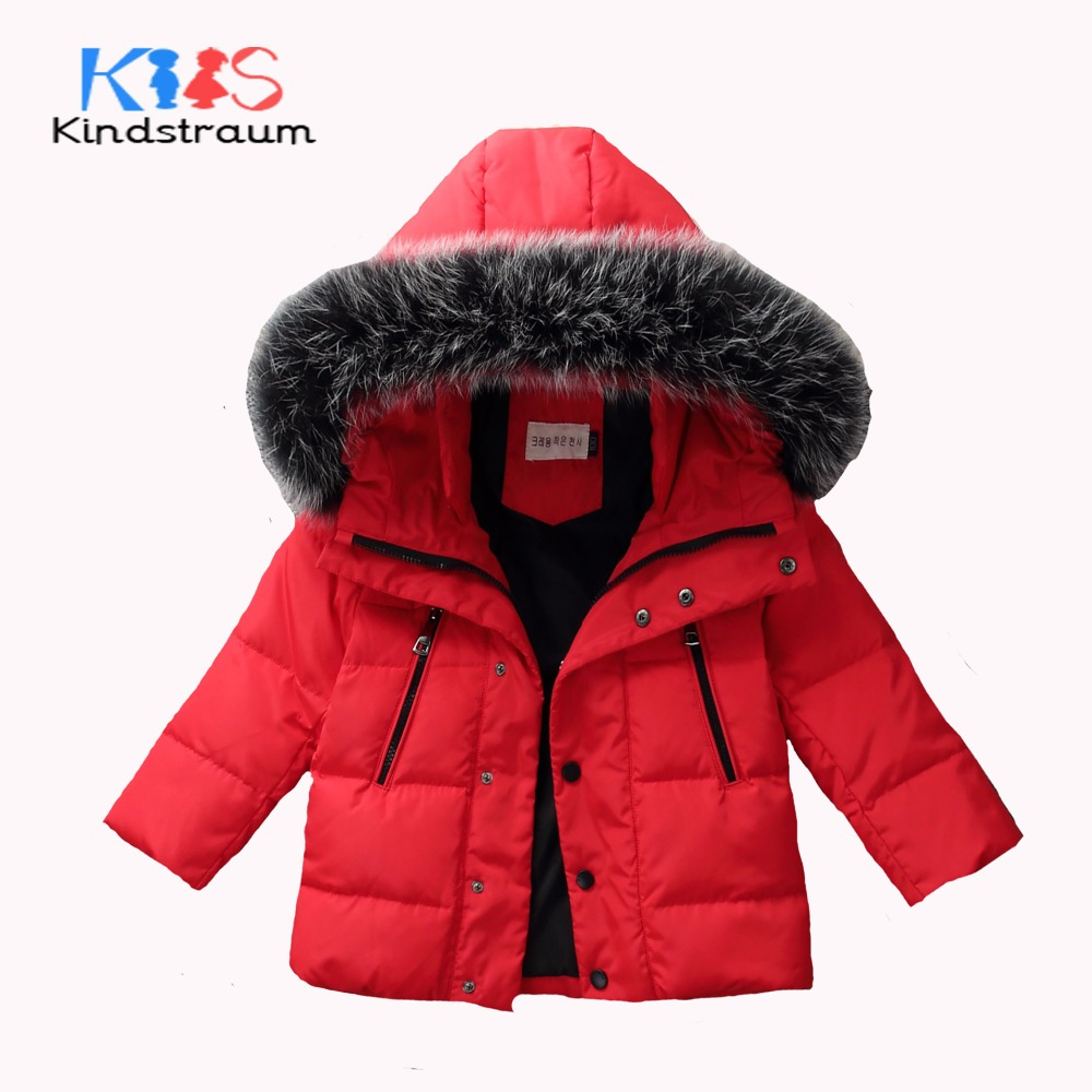 Kindstraum 2017 Winter Fashion Kids Solid Down Coat for Boys Girls Super Warm Duck Down Jacket Hooded Fur Children Outwear,MC843 new style girls children lightweight down jacket set solid hooded warm snowsuit for girls and boys toddler winter wear coat set