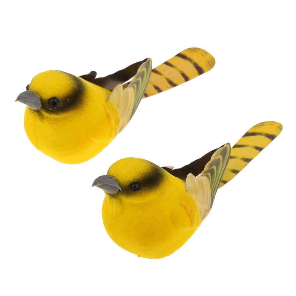 2pcs Artificial Realistic Decor Fake Bird Simulation Home Ornament Bird