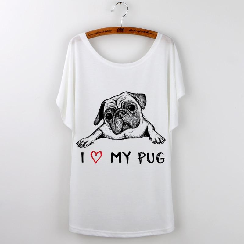 Zomer T-shirt Vrouwen Mooie Grappige Pug Losse Batwing Mouwen Print - Dameskleding - Foto 3