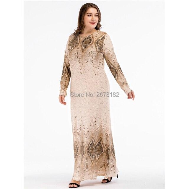 c35bbfcb70 Beige Sequined Islamic Clothing Pakistani Sharara Dress in Big Size  4XL,Plus Size Muslim Dresses Arabic Dress