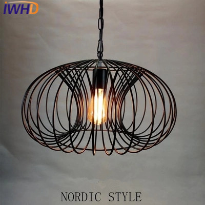 IWHD Iron Hanglamp Vintage Lamp Pendant Lights Industrial Lighting Fixtures Loft Style Retro Cage Pendant Light Lamparas Lustre new loft vintage iron pendant light industrial lighting glass guard design bar cafe restaurant cage pendant lamp hanging lights