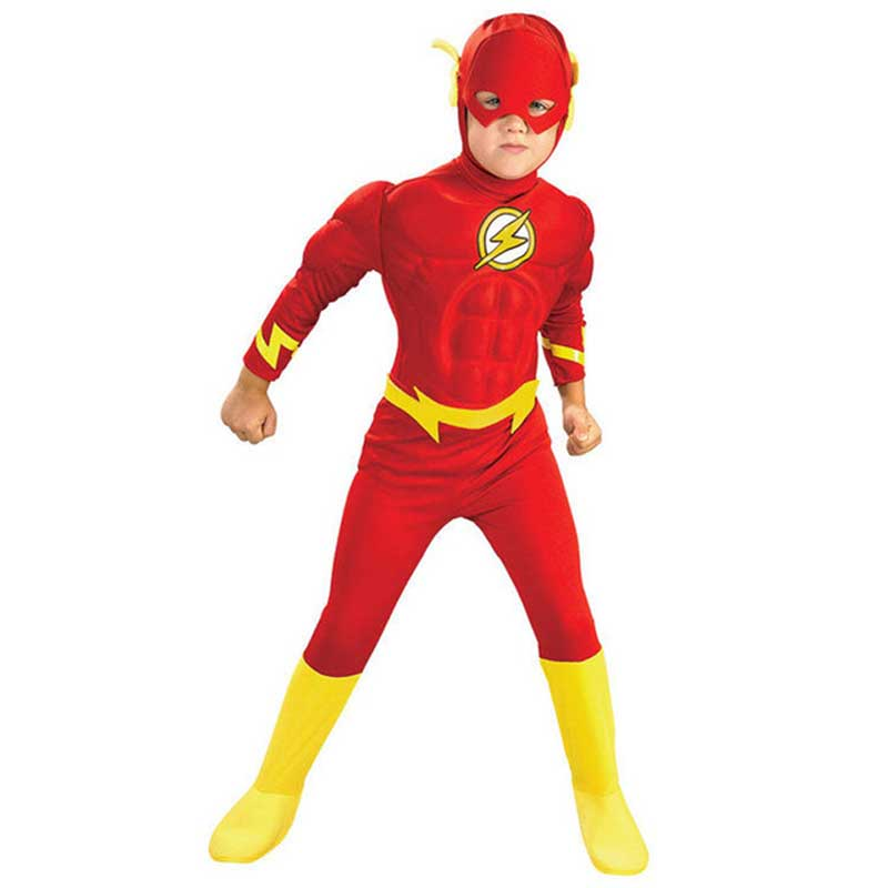3pcs The flash Muscle Cosplay kids costumes DC comic Superhero fancy dress fantasia halloween disfraces for child boys clothing ...
