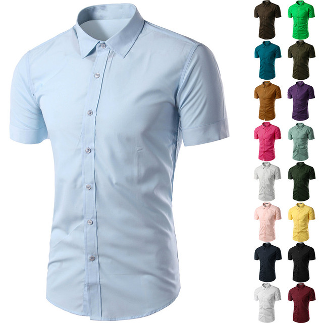 874563a2b 2019 New Summer Men's short Sleeve Shirt Slim Fit Camisa Social Masculina Chemise  Homme Mens Solid Color Business Shirts M-XXXL