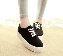 fashion  women canvas shoes platform height increasing women shoes wedges high heels shoes 5a106