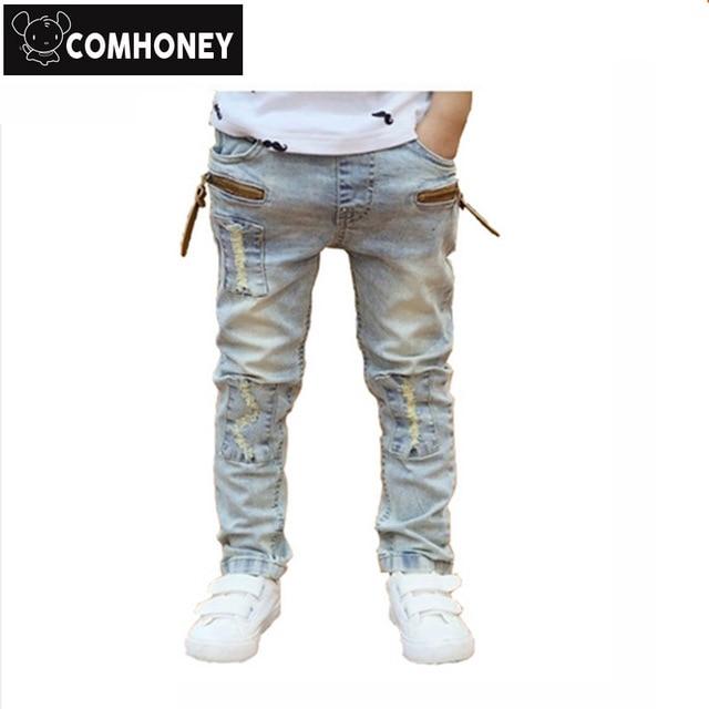 a549569dc5c Boys Jeans Ripped For Kids Stretch Biker Jeans Pants Children Denim Trousers  Girls Spring Autumn Pencil Jeans