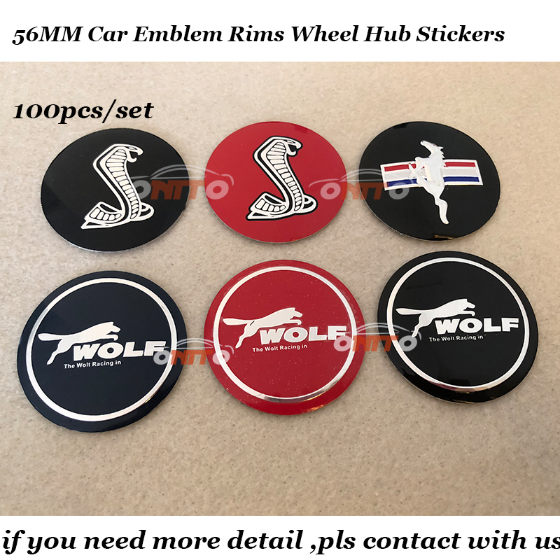 Good selling 100PCS 56mm Car emblem logo badge Rims wheel hub center stickers For ford kuga fusion fiesta transit range