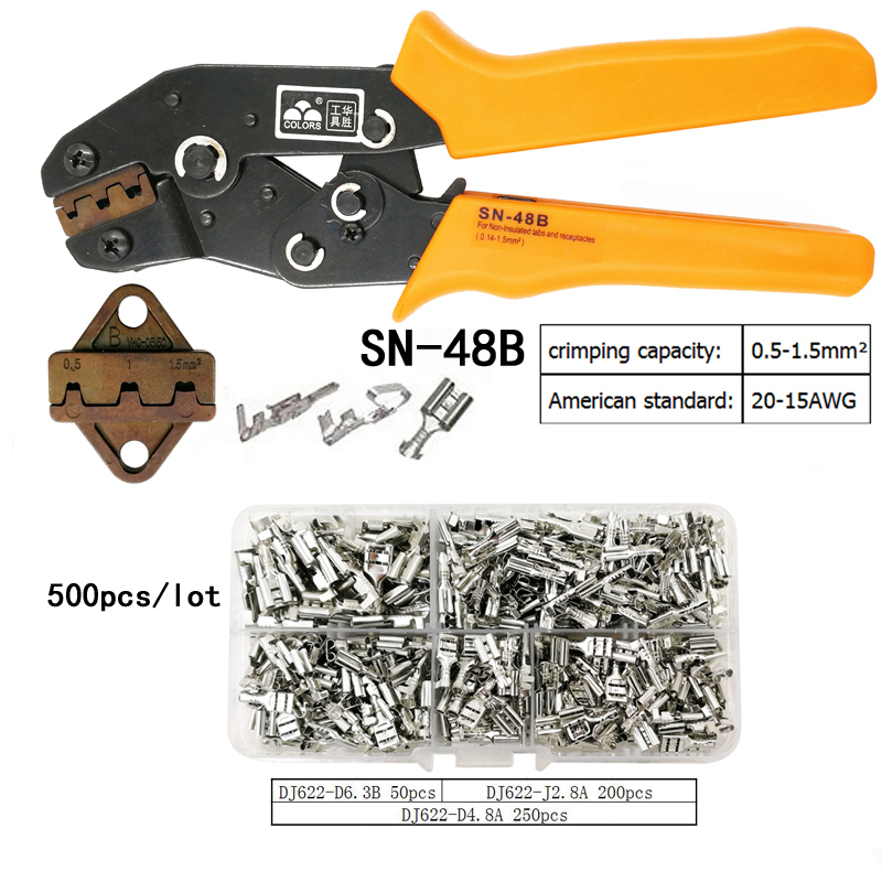 COLORS SN-48B wire crimping plier 0.5-1.5mm2 20-15AWG precision jaw with 500pcs/lot TAB 2.8 4.8 terminals sets toolsCOLORS SN-48B wire crimping plier 0.5-1.5mm2 20-15AWG precision jaw with 500pcs/lot TAB 2.8 4.8 terminals sets tools