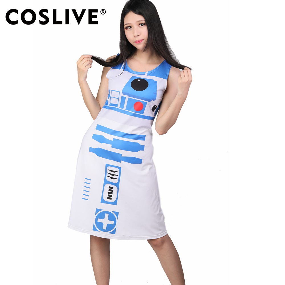 Coslive Star Wars Cosplay R2d2 Fancy Women Girls Dress Star Wars Movie Cosplay Costume For Female Adult
