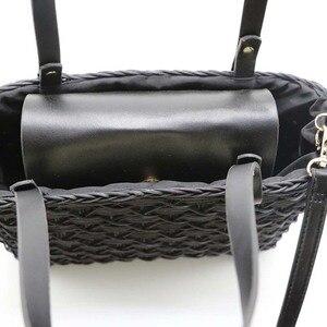 Image 3 - New black camel borsa di paglia rattan naturale di spalla borsa da spiaggia borsa borse tessitura a mano Crossbody bag