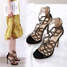 Liren 2019 Summer Fashion Sexy Lady Rhinestone Hollow Women Sandals Open Round Toe High Thin Heels Crystal Shoes
