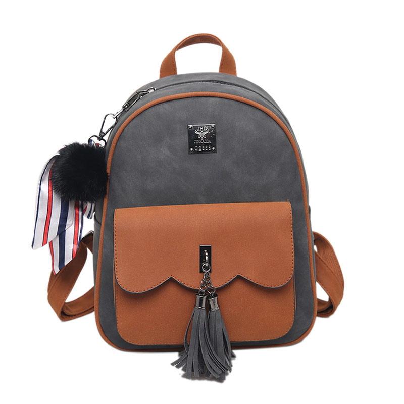 UNstyle Tassel Women Backpacks Fashion PU Leather Lady Backpacks High Quality Girls Backpack Cute College Travel