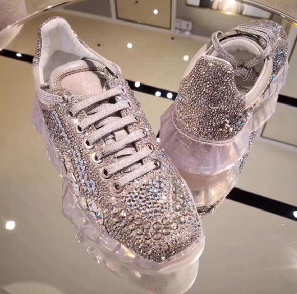 Picture En Nouvelle as Casual Marque As Picture Up De Luxe Sneakers Zapatos 2018 Mode Femme Mujer Style Démissionnaire Cuir Cristal Lace Chaussures pwpPRt1qxY