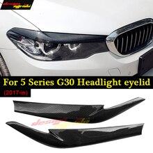 For BMW 5 Series G30 Headlight Eyelids Sedan 520i 528i 550i Carbon Fiber 2pcs Headlight Eyelids Eyebrows Covers Trim 2017+ стоимость