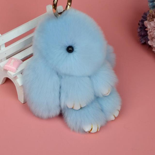 Rabbit Keychain Cute Fluffy Bunny Keychain Rex Genuine Rabbit Fur Pompom Key Ring Pom Pom Toy Doll Bag Charm Car Key Holder 5