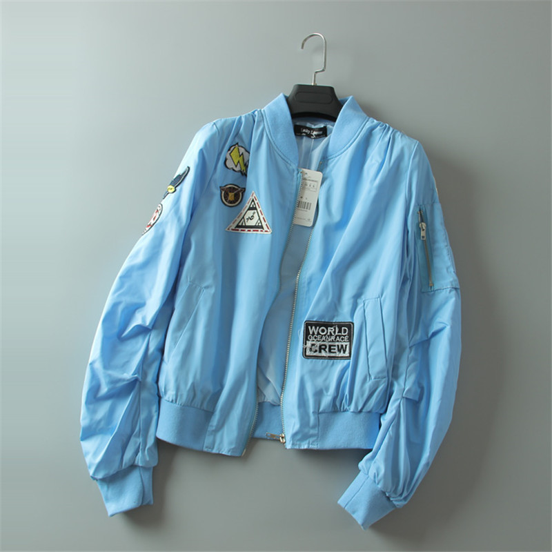 Chaqueta de Las Mujeres lindas OLGITUM letras parche escudo bomber jacket manga