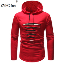 Long sleeve hooded men t shirt spring summer T-shirt men Longline curved hem casual slim t-shirt streetwear tops Tees black round neck long sleeves curved hem t shirt