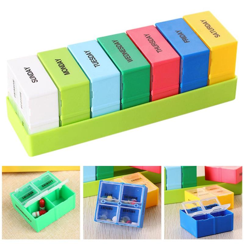 1pc Portable Pill Box Colorful Weekly Travel Pill Case Drug Compartment  Packing Organizer Tablet Medicine Storage Dispenser U4 f2f36886db6ad