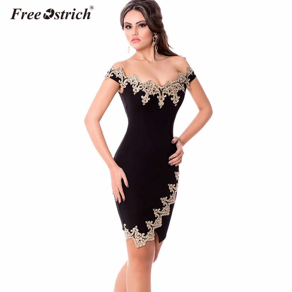 c8146ae4ab Free Ostrich Pencil Dress Sexy Strapless Lace Applique Bodycon Club Party  Evening Gown Robe Tube Dress