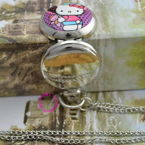 wholesale price good quality silver mirror sketch drawing cat hello kitty pocket chain watch necklace hour clock antibrittle