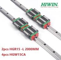 2pcs 100% original Hiwin linear rail guide HGR15 L 2000mm + 4pcs HGW15CA ( HGW15CC ) linear flange carriage block for cnc