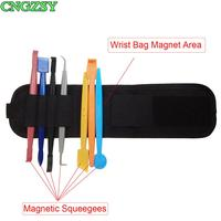 7PCS Strong Magnet Squeegee + 1PC Magnetic Wristband Pouch Size Adjustable Pocket Bag For Sticker Wrap Car Accessories B20+D09